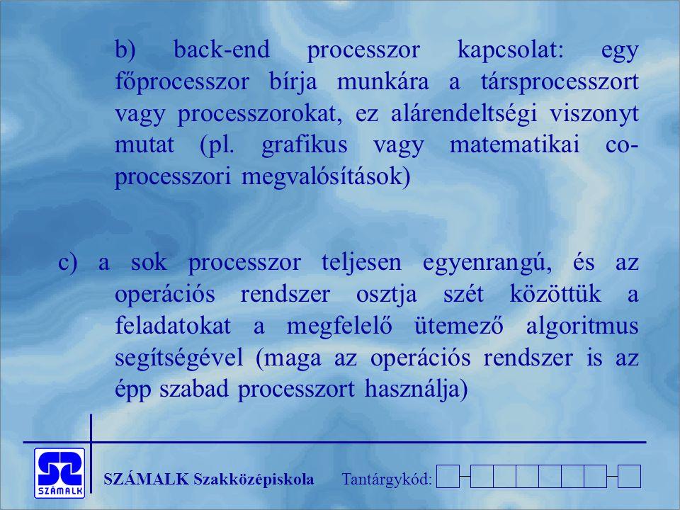 b) back-end processzor kapcsolat: egy főprocesszor bírja munkára a társprocesszort vagy processzorokat, ez alárendeltségi viszonyt mutat (pl. grafikus vagy matematikai co-processzori megvalósítások)