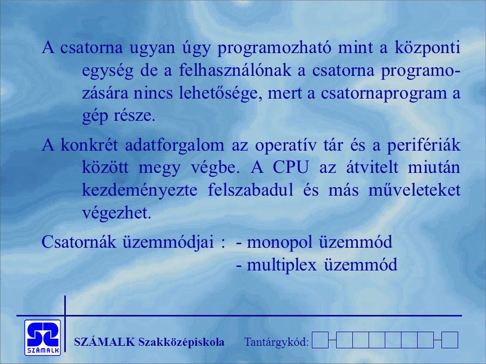 A csatorna ugyan úgy programozható mint a központi egység de a felhasználónak a csatorna programo- zására nincs lehetősége, mert a csatornaprogram a gép része.