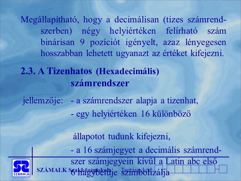 2.3. A Tizenhatos (Hexadecimális) számrendszer