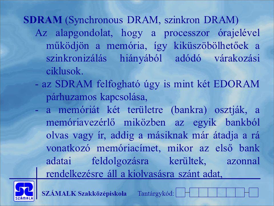 SDRAM (Synchronous DRAM, szinkron DRAM)