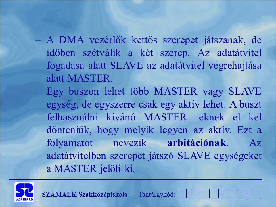 A DMA vezérlők kettős szerepet játszanak, de időben szétválik a két szerep. Az adatátvitel fogadása alatt SLAVE az adatátvitel végrehajtása alatt MASTER.