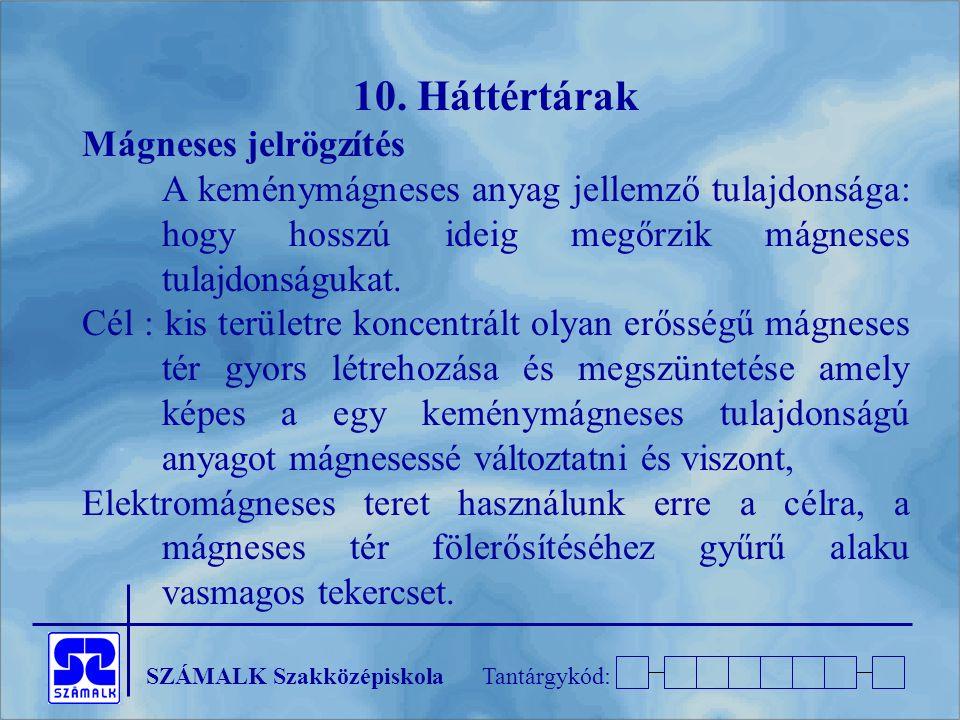 10. Háttértárak Mágneses jelrögzítés
