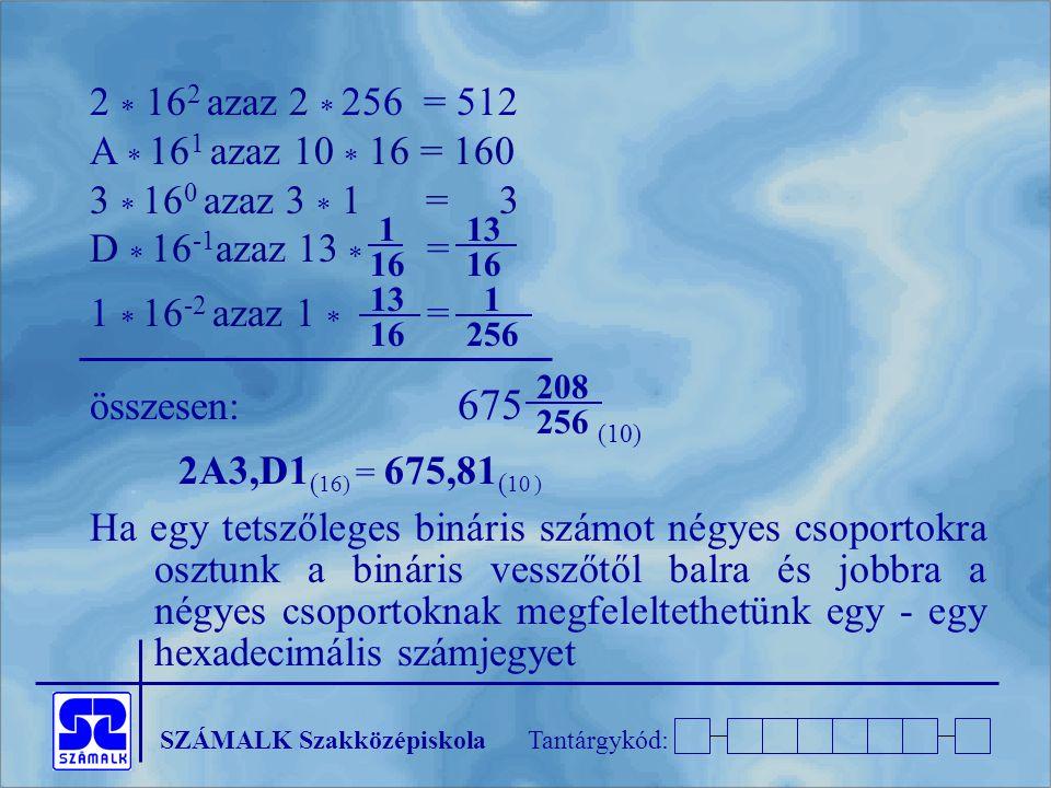 2  162 azaz 2  256 = 512 A  161 azaz 10  16 = 160. 3  160 azaz 3  1 = 3. D  16-1azaz 13  =