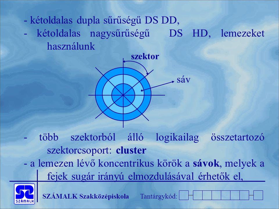 - kétoldalas dupla sűrűségű DS DD,