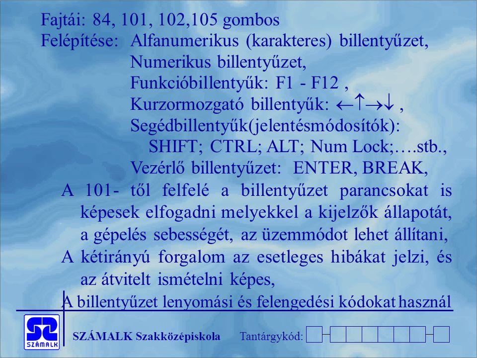 Fajtái: 84, 101, 102,105 gombos Felépítése: Alfanumerikus (karakteres) billentyűzet, Numerikus billentyűzet,