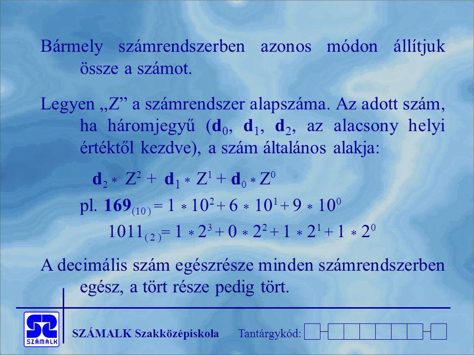 Bármely számrendszerben azonos módon állítjuk össze a számot.