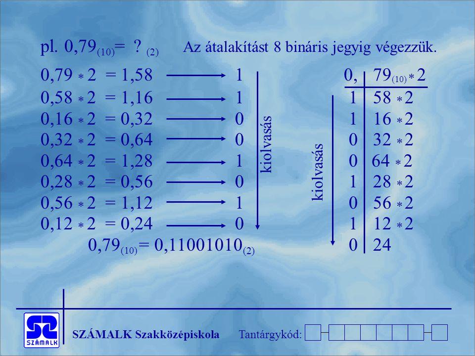 pl. 0,79(10)= (2) Az átalakítást 8 bináris jegyig végezzük.