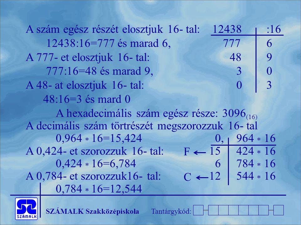 A szám egész részét elosztjuk 16- tal: 12438 :16