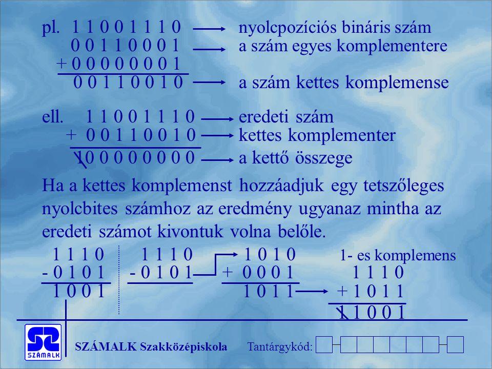 pl. 1 1 0 0 1 1 1 0 nyolcpozíciós bináris szám