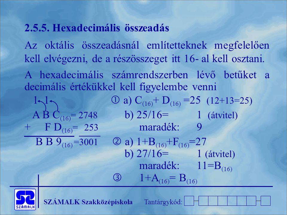 2.5.5. Hexadecimális összeadás
