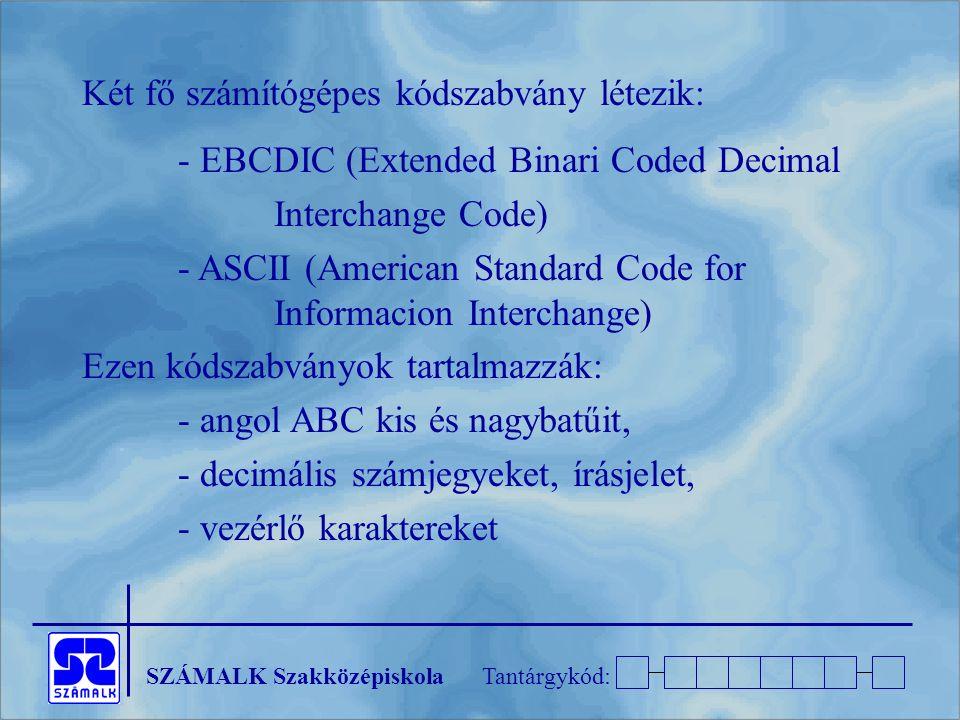 Két fő számítógépes kódszabvány létezik: