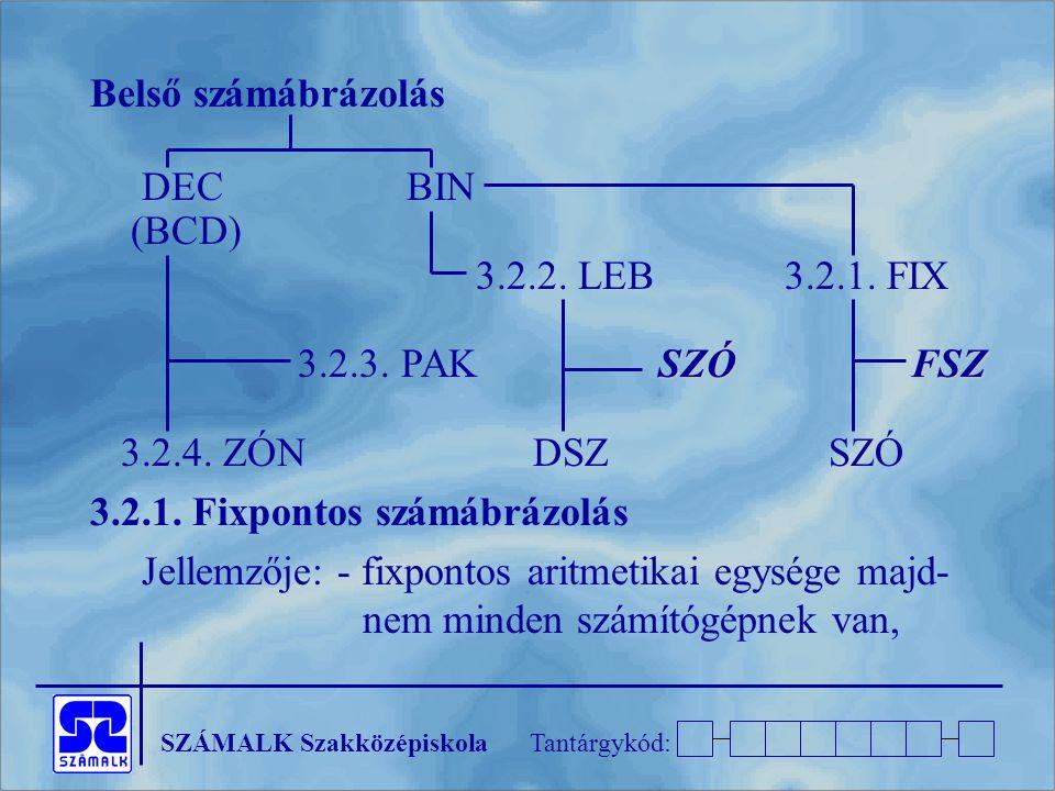 Belső számábrázolás DEC BIN. (BCD) 3.2.2. LEB 3.2.1. FIX. 3.2.3. PAK SZÓ FSZ.