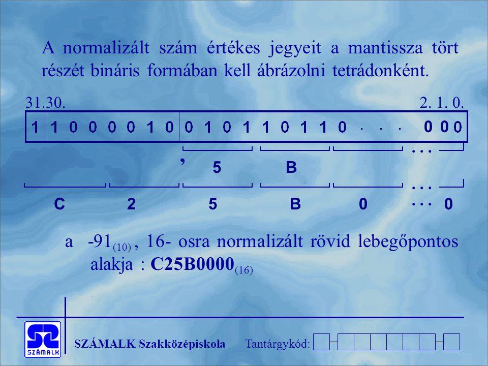 A normalizált szám értékes jegyeit a mantissza tört részét bináris formában kell ábrázolni tetrádonként.
