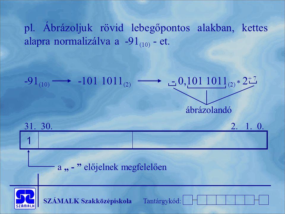 pl. Ábrázoljuk rövid lebegőpontos alakban, kettes alapra normalizálva a -91(10) - et.