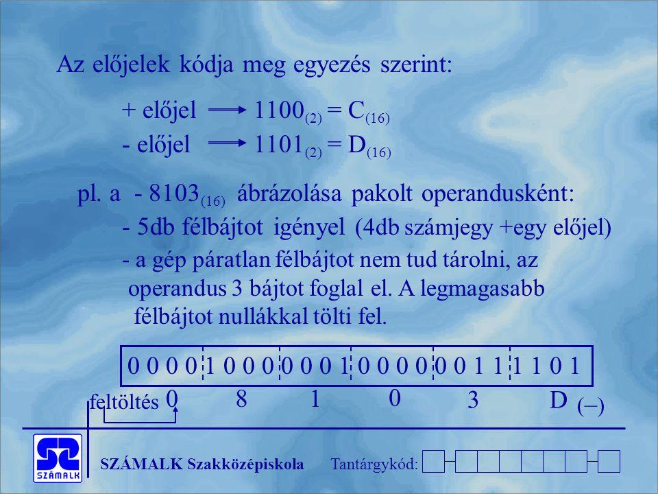 Az előjelek kódja meg egyezés szerint: + előjel 1100(2) = C(16)