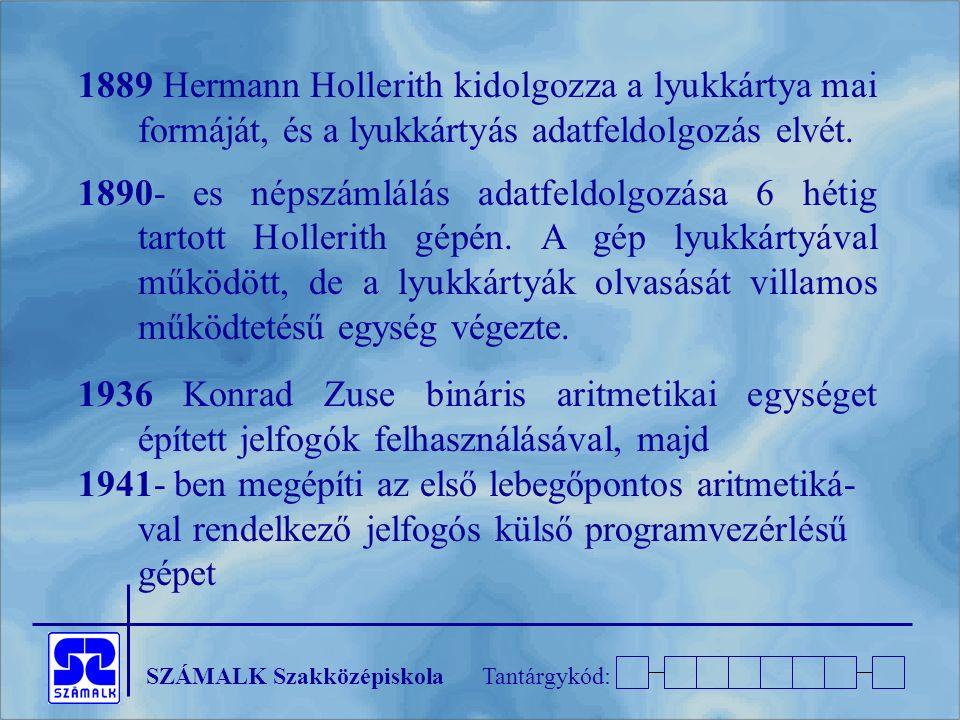 1889 Hermann Hollerith kidolgozza a lyukkártya mai formáját, és a lyukkártyás adatfeldolgozás elvét.