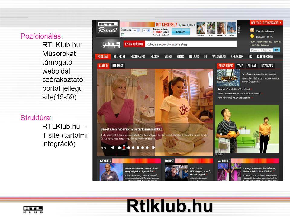 Pozícionálás: RTLKlub. hu: Műsorokat támogató weboldal