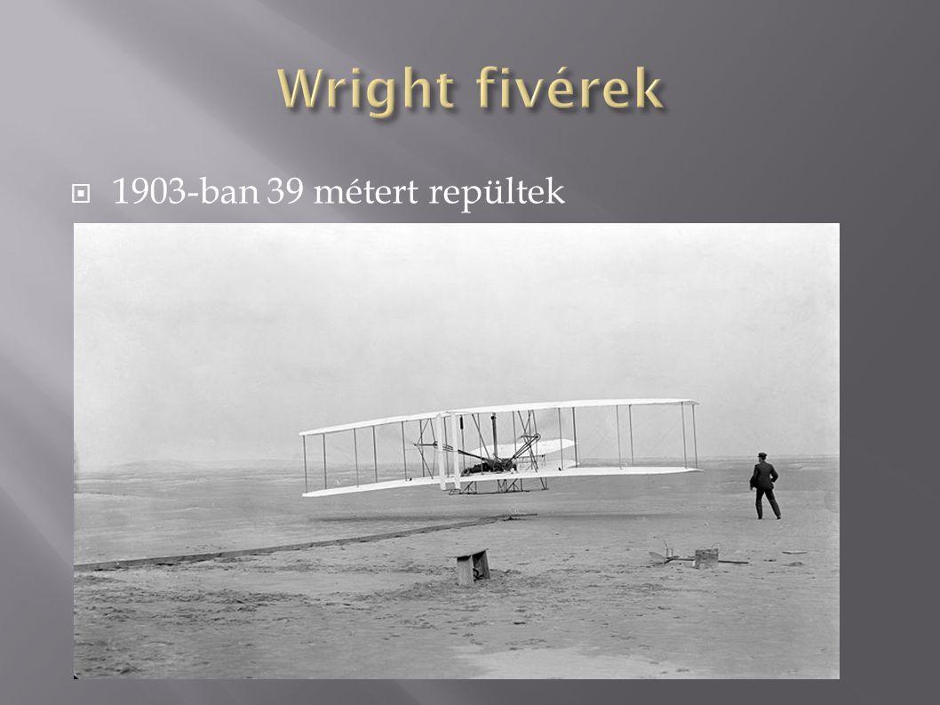 Wright fivérek 1903-ban 39 métert repültek
