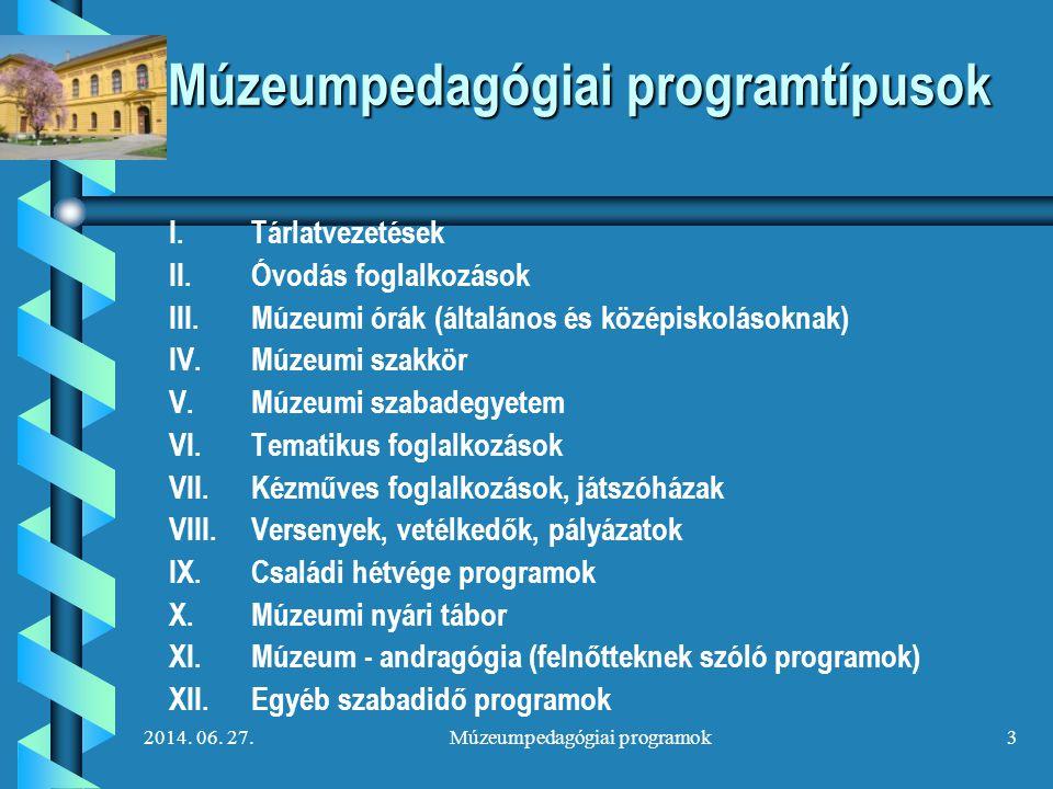 Múzeumpedagógiai programtípusok