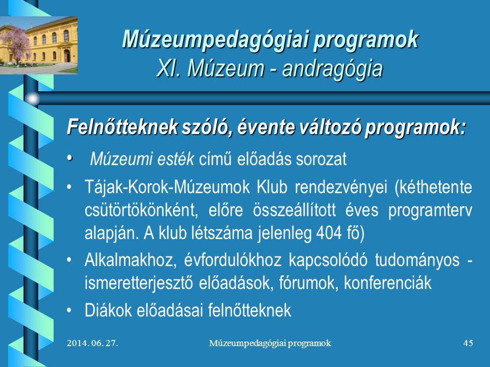 Múzeumpedagógiai programok XI. Múzeum - andragógia