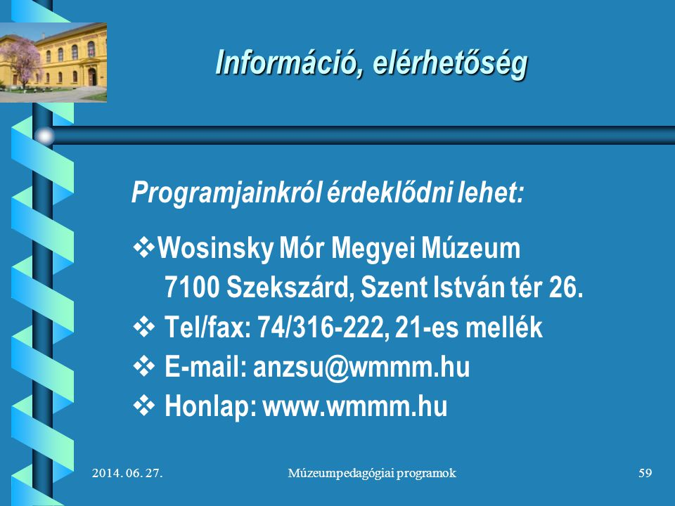 Információ, elérhetőség