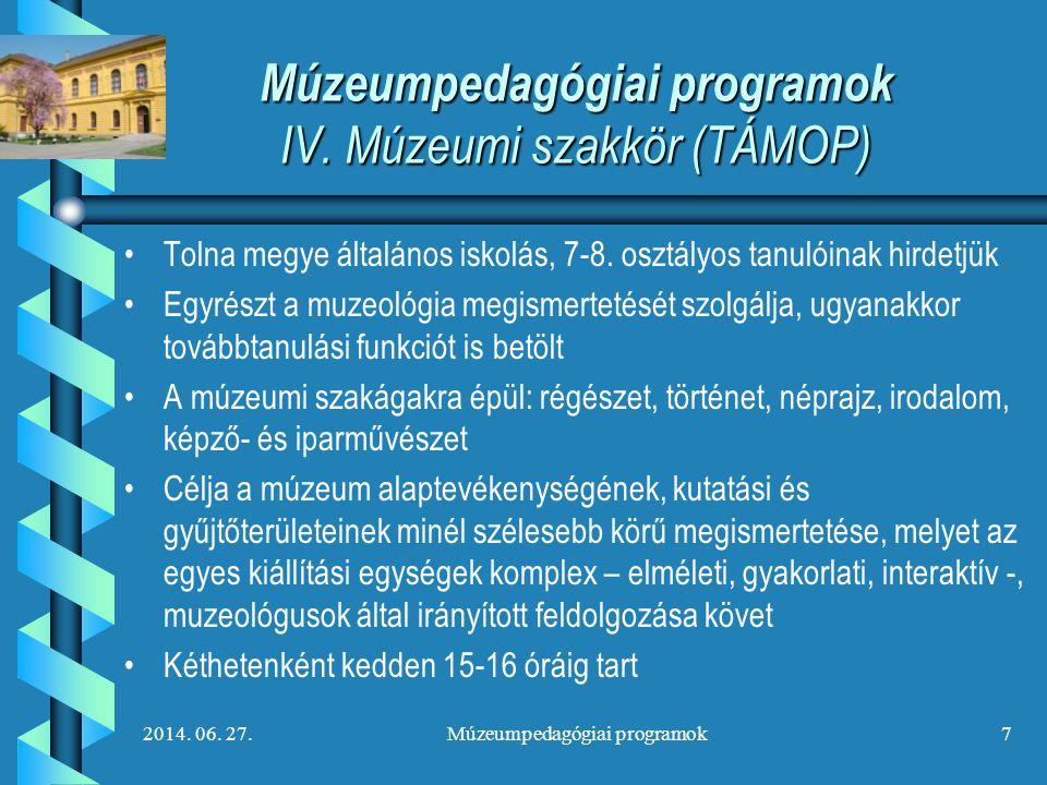 Múzeumpedagógiai programok IV. Múzeumi szakkör (TÁMOP)