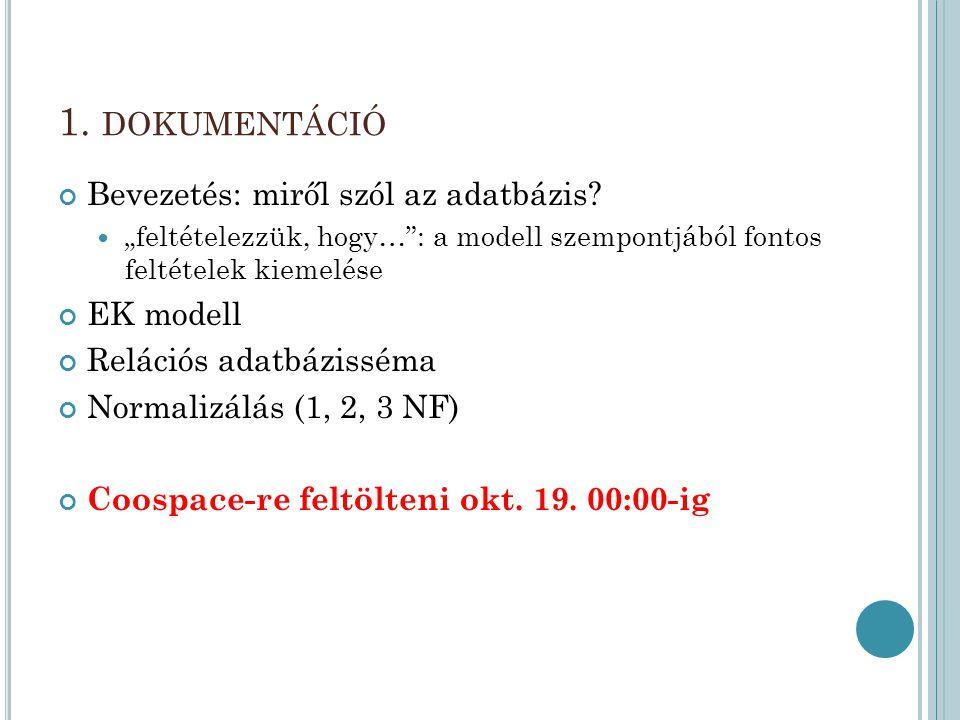 1. dokumentáció Bevezetés: miről szól az adatbázis EK modell