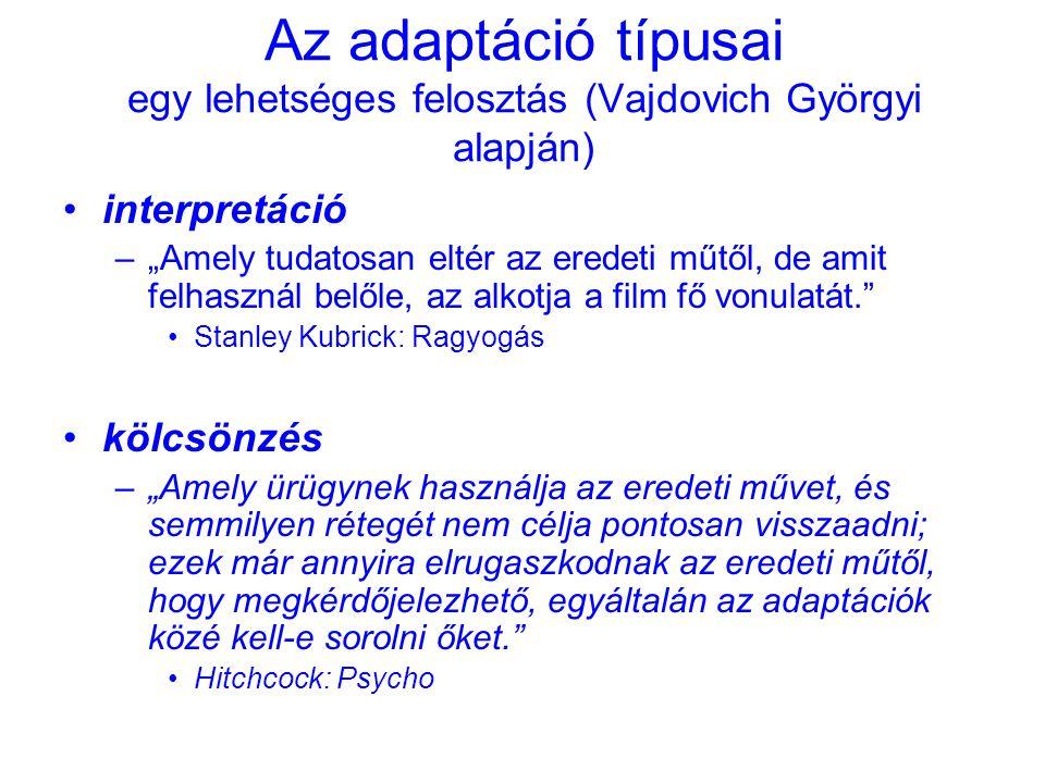 Az adaptáció típusai egy lehetséges felosztás (Vajdovich Györgyi alapján)