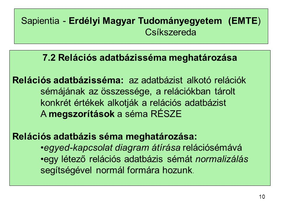 7.2 Relációs adatbázisséma meghatározása
