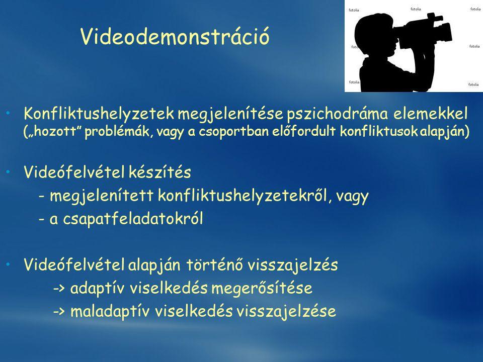 """Videodemonstráció Konfliktushelyzetek megjelenítése pszichodráma elemekkel (""""hozott problémák, vagy a csoportban előfordult konfliktusok alapján)"""