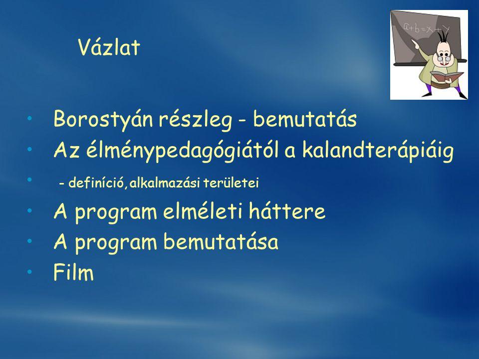 Vázlat Borostyán részleg - bemutatás. Az élménypedagógiától a kalandterápiáig. - definíció, alkalmazási területei.