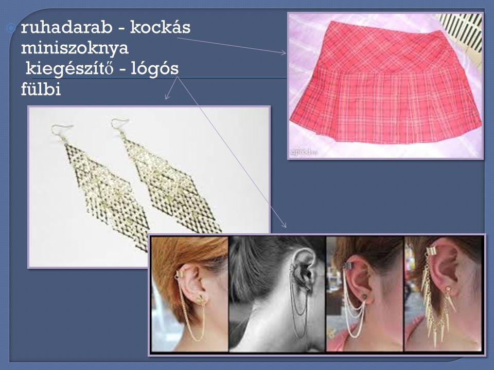 ruhadarab - kockás miniszoknya kiegészítő - lógós fülbi