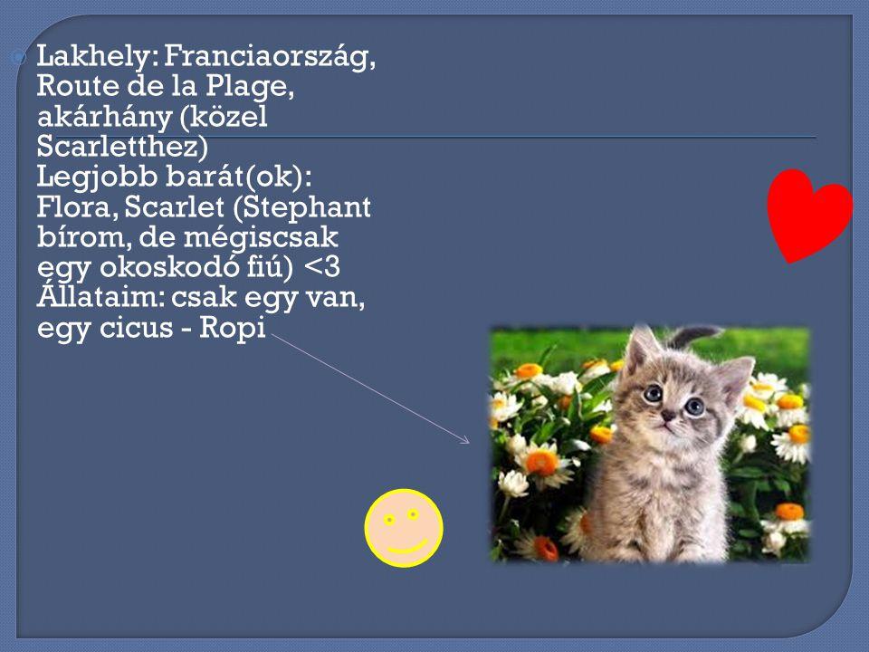 Lakhely: Franciaország, Route de la Plage, akárhány (közel Scarletthez) Legjobb barát(ok): Flora, Scarlet (Stephant bírom, de mégiscsak egy okoskodó fiú) <3 Állataim: csak egy van, egy cicus - Ropi