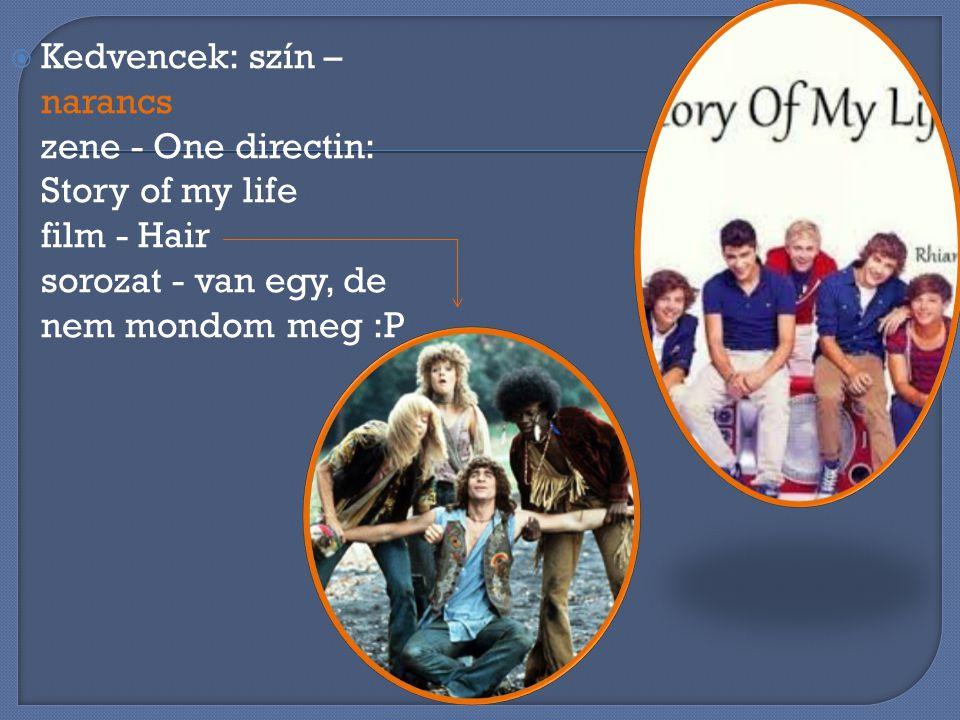 Kedvencek: szín – narancs zene - One directin: Story of my life film - Hair sorozat - van egy, de nem mondom meg :P
