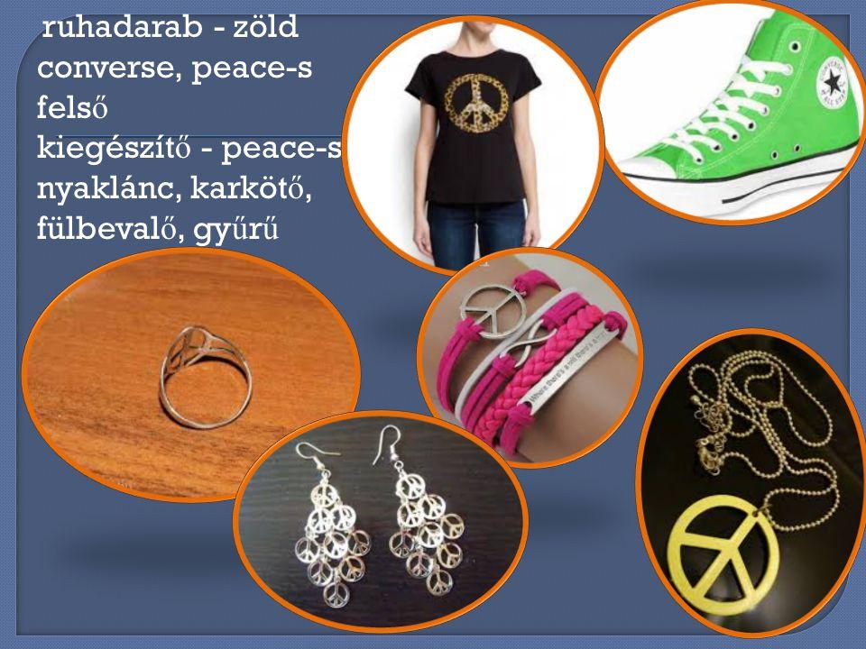 ruhadarab - zöld converse, peace-s felső kiegészítő - peace-s nyaklánc, karkötő, fülbevalő, gyűrű