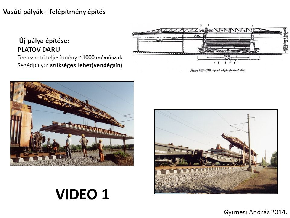 VIDEO 1 Vasúti pályák – felépítmény építés Új pálya építése: