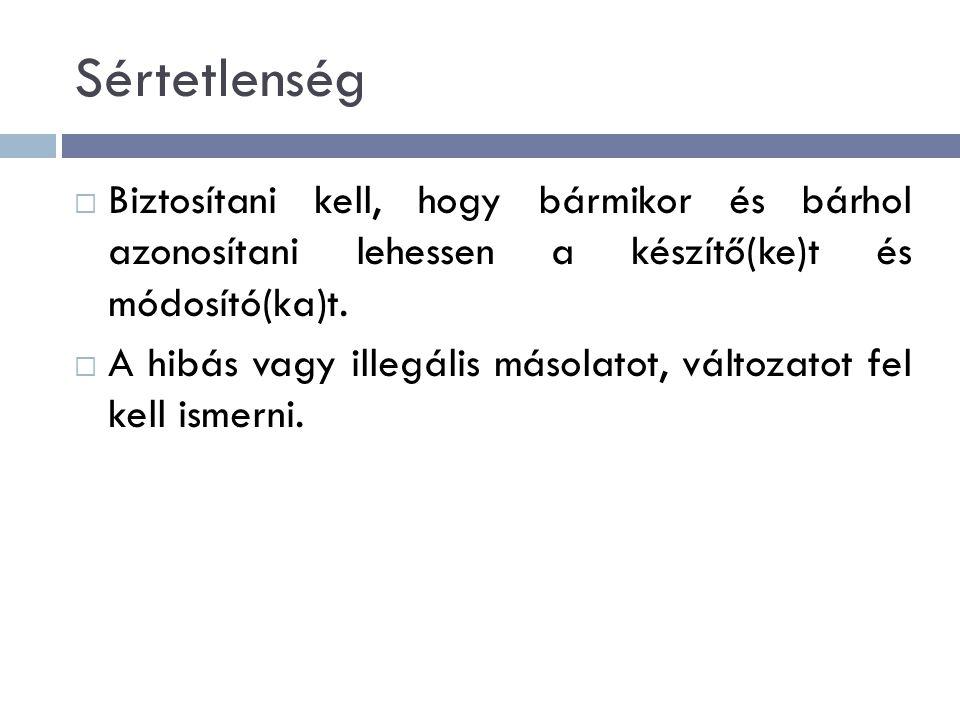 Sértetlenség Biztosítani kell, hogy bármikor és bárhol azonosítani lehessen a készítő(ke)t és módosító(ka)t.