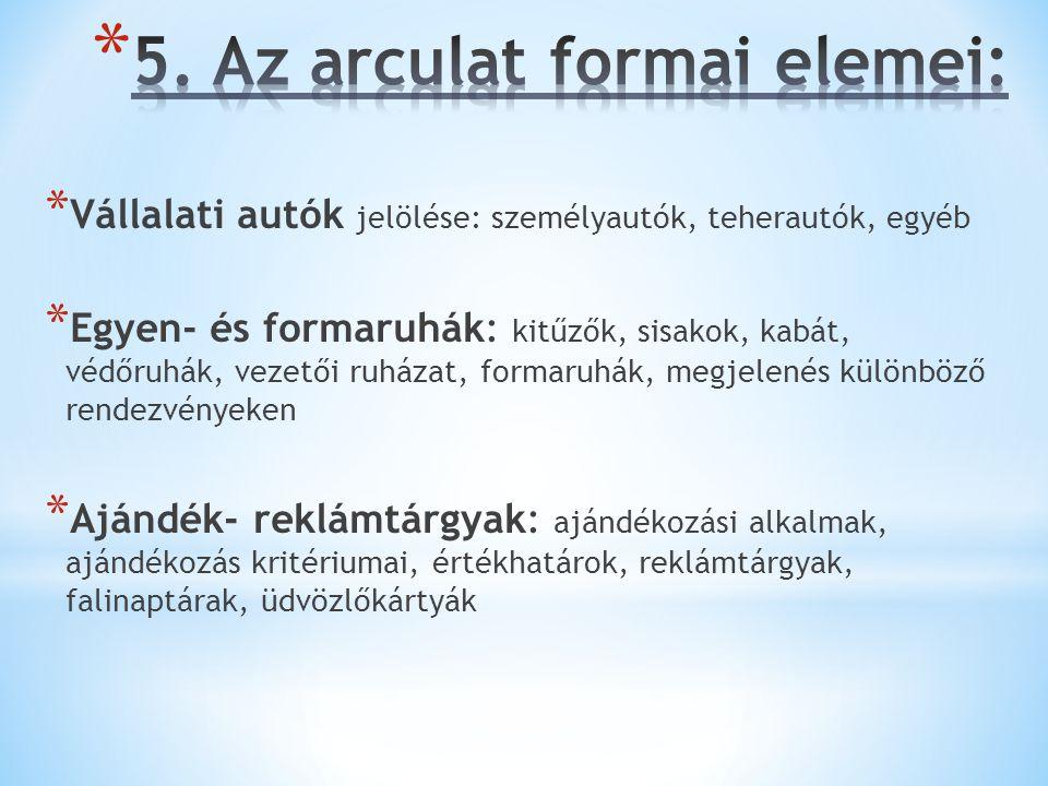 5. Az arculat formai elemei: