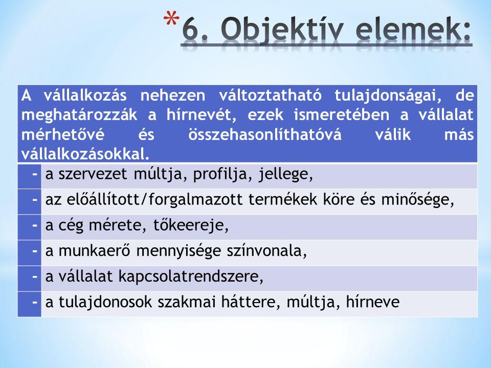 6. Objektív elemek: