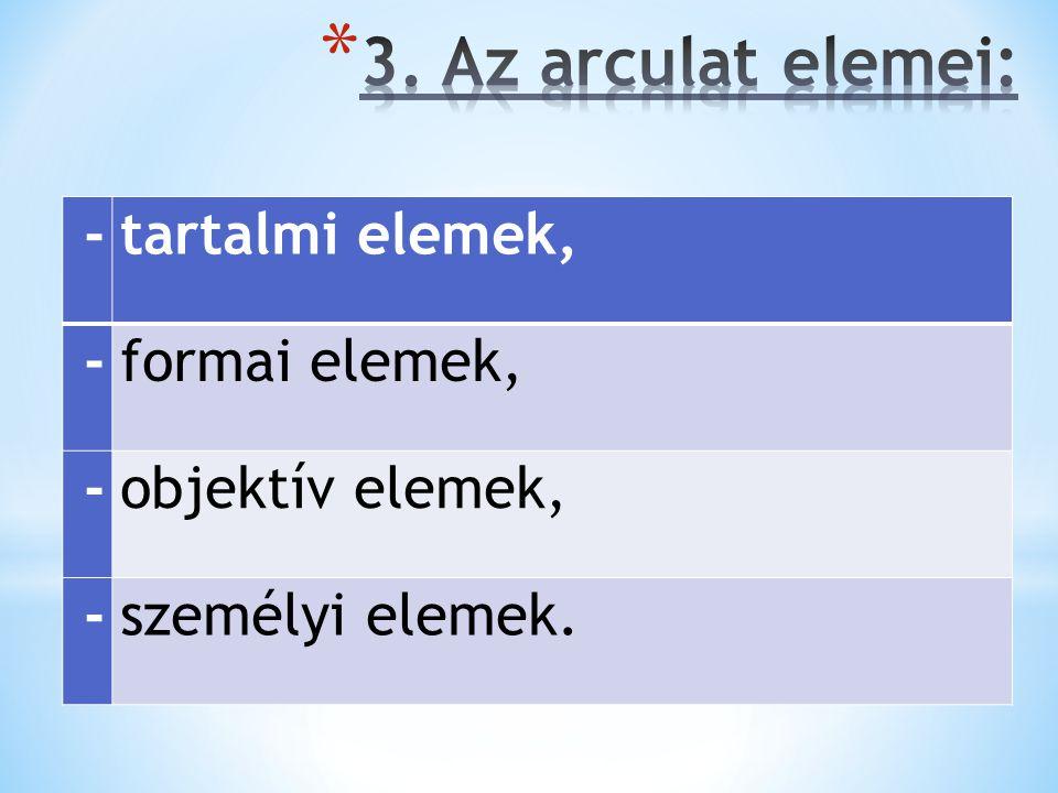 3. Az arculat elemei: - tartalmi elemek, formai elemek,
