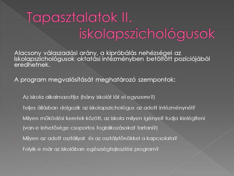 Tapasztalatok II. iskolapszichológusok