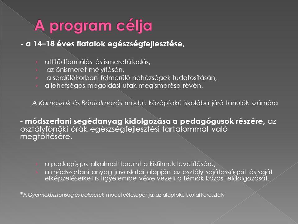 A program célja - a 14–18 éves fiatalok egészségfejlesztése,