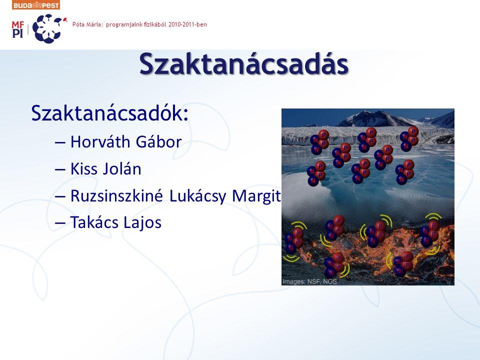Szaktanácsadás Szaktanácsadók: Horváth Gábor Kiss Jolán