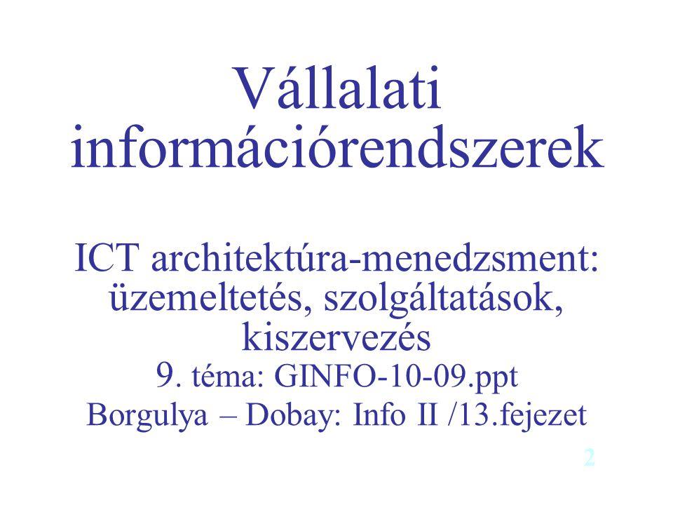 Vállalati információrendszerek ICT architektúra-menedzsment: üzemeltetés, szolgáltatások, kiszervezés 9. téma: GINFO-10-09.ppt Borgulya – Dobay: Info II /13.fejezet