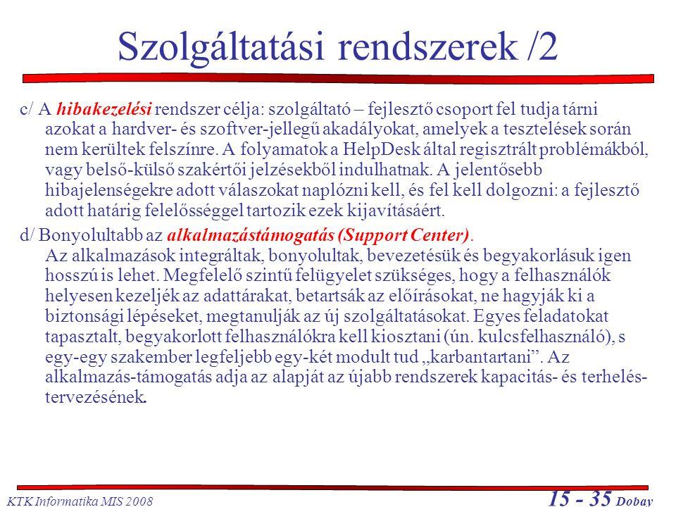 Szolgáltatási rendszerek /2