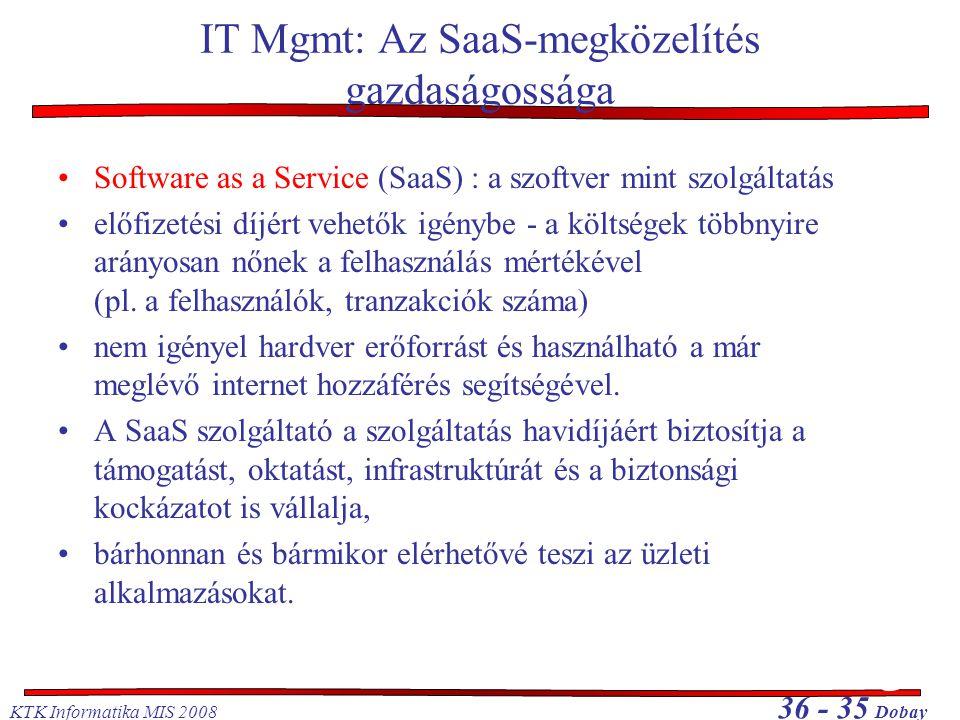 IT Mgmt: Az SaaS-megközelítés gazdaságossága