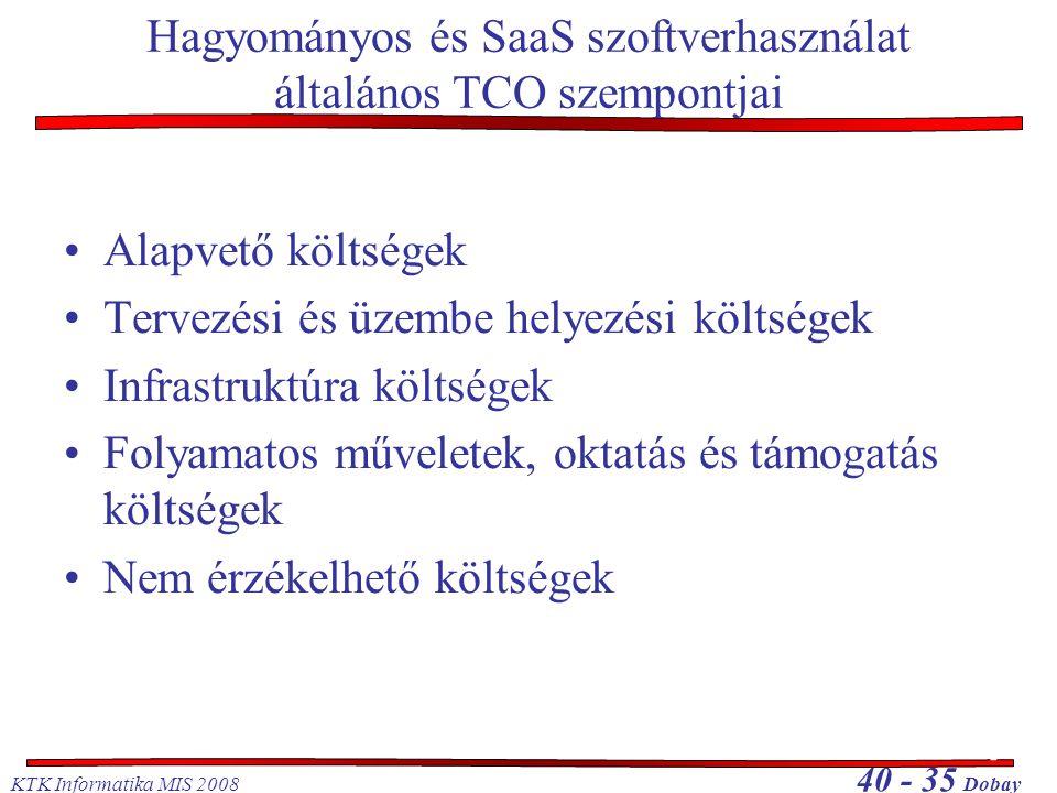 Hagyományos és SaaS szoftverhasználat általános TCO szempontjai