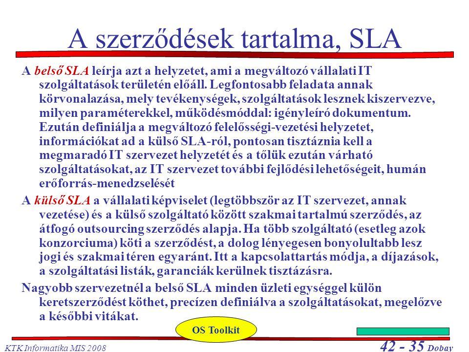 A szerződések tartalma, SLA