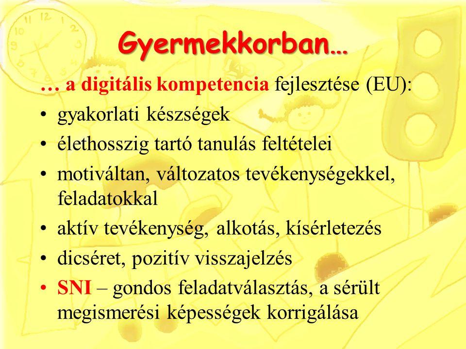 Gyermekkorban… … a digitális kompetencia fejlesztése (EU):