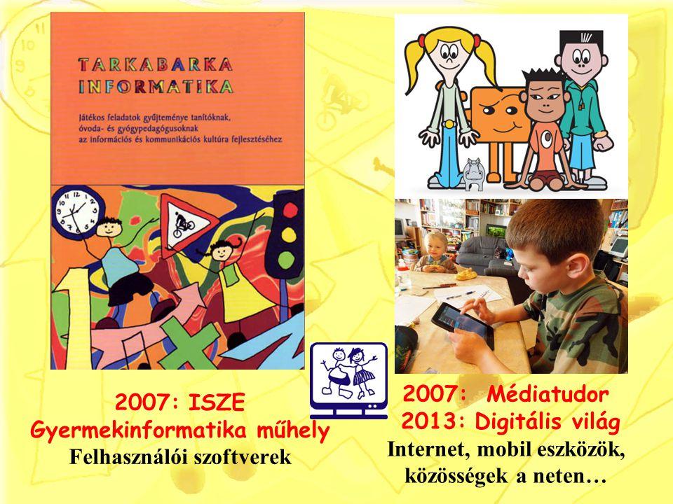 2007: ISZE Gyermekinformatika műhely Felhasználói szoftverek
